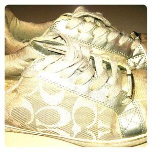 Silver Coach Sneakers size 7 medium
